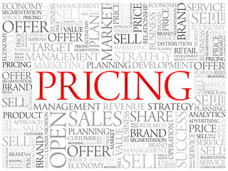 Pricing word cloud, business concept background