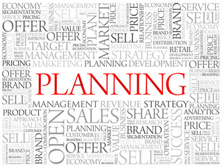 Planning word cloud, business concept background