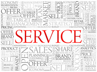 SERVICE word cloud, business concept background