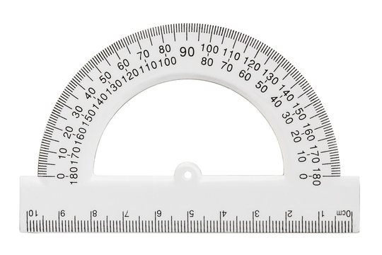 White transparent protractor, isolated on white, with clipping p