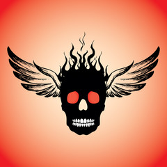Skull on Fire with Flames  and wings.
