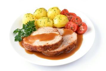 szynka pieczona z ziemniakami i pomidorem