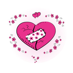 pink heart with a patch, vector illustration