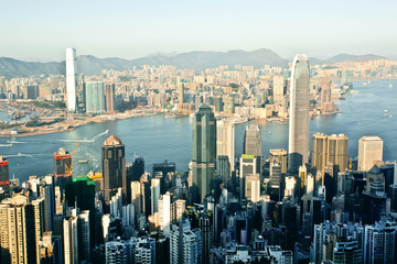 Cityscape of Hong Kong with waters of Victoria Harbor, a giant asian city