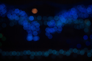 abstract background. Bokeh hexagon Blue lights at night.