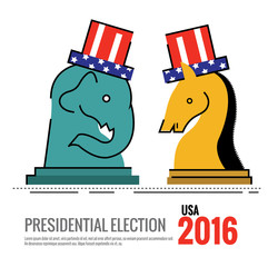 Election 2016 USA concept. the elephant and donkey Chess board