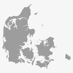 Map of Denmark in gray on a white background