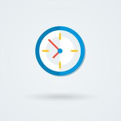 Flat clock icon. Simple vector illustration.