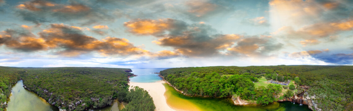 Sunset aerial view of Royal National Park, New South Wales - Aus