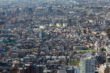 Aerial view Tokyo residence area, cityscape downtown, Japan