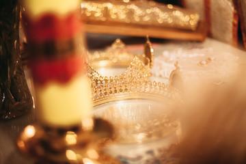 Elegant wedding crown or tiara preparing for marriage in church