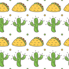 Mexican seamless pattern background with cactus and taco. Cinco de Mayo background.