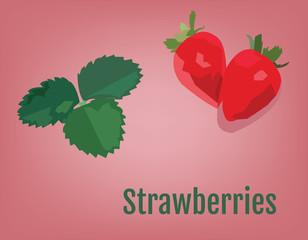 Strawberry with Leaves vector illustration. Smoothie Ingredients. Raw Vegan Recepie Ingredients. Digital background.