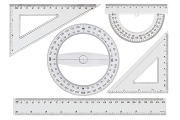 Set of white transparent rulers, isolated on white background