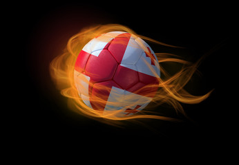 Soccer ball with the national flag of Georgia, making a flame.