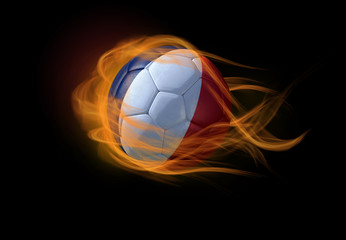 Soccer ball with the national flag of France, making a flame.