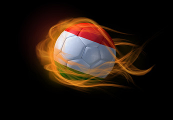 Soccer ball with the national flag of Hungary, making a flame.