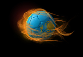 Soccer ball with the national flag of Kazakhstan, making a flame.