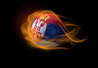 Soccer ball with the national flag of Serbia, making a flame.