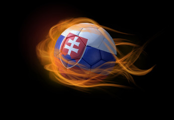 Soccer ball with the national flag of Slovakia, making a flame.