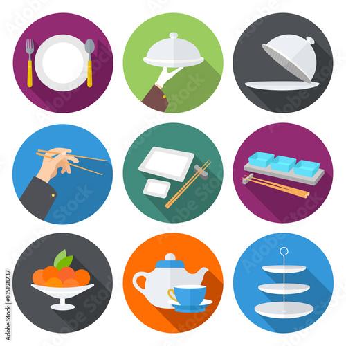 Restaurant Layout Icons : Quot set flat design icons for restaurant kitchen utensils