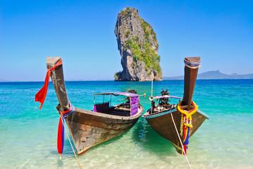 Boat, Andaman Sea, Poda Island Background, Sky, Krabi Province, Southern Thailand