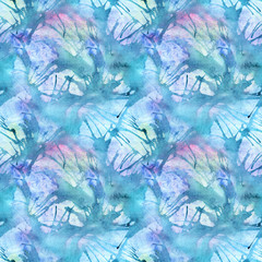 Watercolor turquoise cyan abstract seamless pattern texture background
