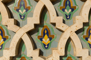 detail of tile work on the exterior of the Hassan II mosque in Casablanca