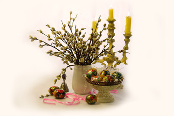 Easter eggs and willow twigs , candle holder .