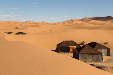 tents in the sand dunes of Merzouga