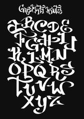 Graffiti font alphabet. Vector illustration.