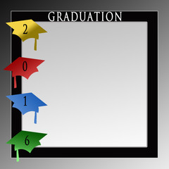 2016 Graduation Background with Graduation colorful caps to the left in this background/illustration celebrating Graduation day for either high school or college.
