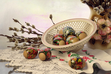 Easter eggs and willow twigs .