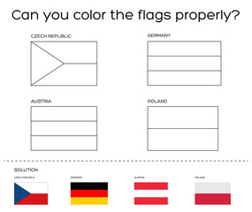 Coloring book task - European flags with solution
