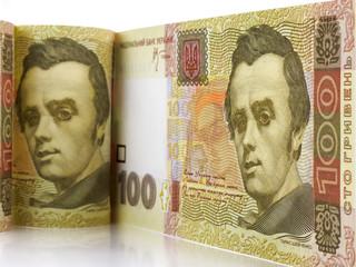 A hundred hryvnia bill. Ukrainian money. Portrait of Taras Shevchenko.
