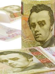 A hundred hryvnia bill. Ukrainian money. Vertical standing.