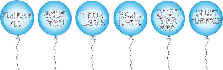 Set of blue balloons with inscriptions with holiday inscriptions