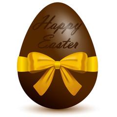 Uovo pasquale vettoriale in cioccolato con scritta Buona Pasqua e nastro realistico giallo