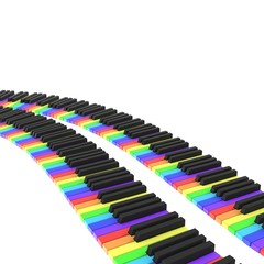 isolated piano keyboard in rainbow colors