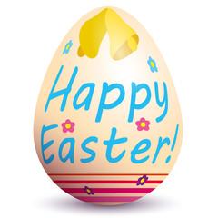 Uovo pasquale colorato con campane fiori nastri e scritta Buona Pasqua