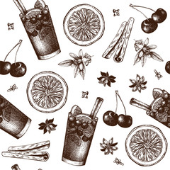 Vector pattern with vintage alcoholic cocktails sketch. Ink hand drawn sangria and ingredients background for bar or restaurant menu