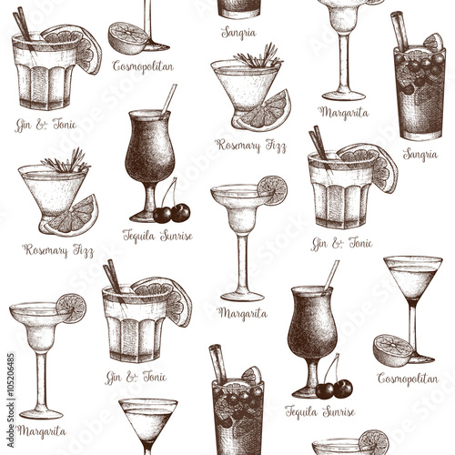 Vector seamless pattern with vintage alcoholic cocktails