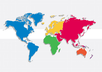 world map continents colors vector - Individual separate continents - Europe Asia Africa America Australia Oceania