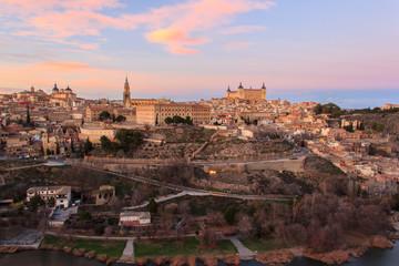 Beautiful sunset over old Toledo, old capital city of Sapain, Spain