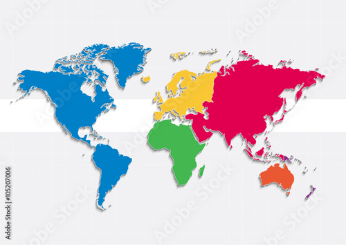 World map continents colors vector individual separate continents world map continents colors vector individual separate continents europe asia africa america australia oceania gumiabroncs Choice Image