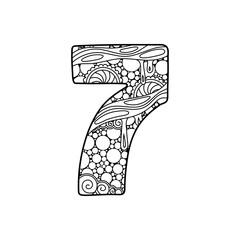 Zentangle number. Vector decorative number.