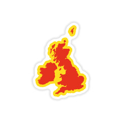 paper sticker map Britain on white background