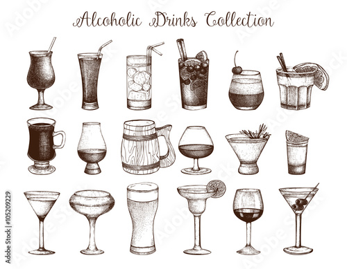 Big set of vintage alcoholic drinks sketch  Ink hand drawn