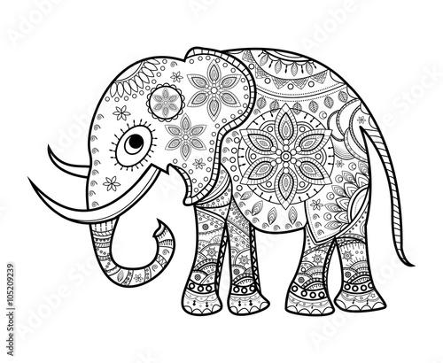 Black And White Decorated Elephant On White Elefante Decorato