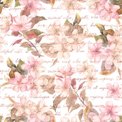 Flowers - cherry blossom, sakura - and hand written text letter in retro color. Vintage watercolor. Seamless pattern